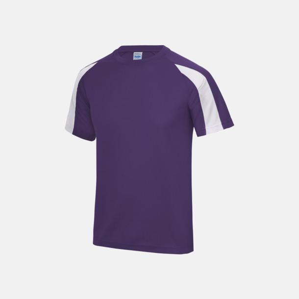 Lila/Arctic White Tvåfärgade sport t-shirts för barn & vuxna - med reklamtryck