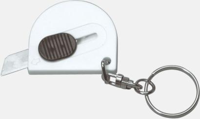 Vit Små brytbladsknivar med nyckelringar - med reklamtryck