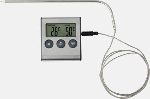 Silver Billig stektermometer & timer - med reklamtryck