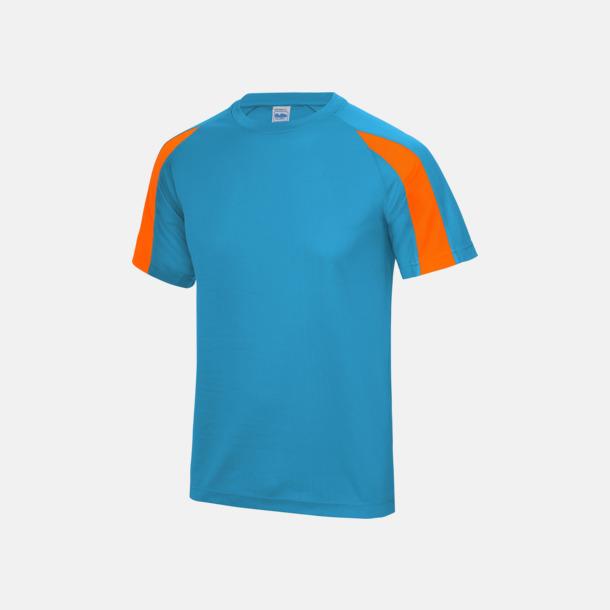 Sapphire Blue/Electric Orange Tvåfärgade sport t-shirts för barn & vuxna - med reklamtryck