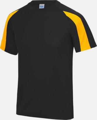 Jet Black/Gold Tvåfärgade sport t-shirts för barn & vuxna - med reklamtryck