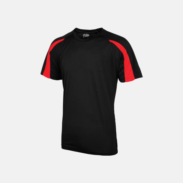 Jer Black/Fire Red Tvåfärgade sport t-shirts för barn & vuxna - med reklamtryck