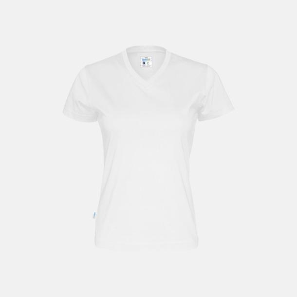 Vit (dam) Svanen- & Fairtrade-certifierade v-ringade t-shirts med reklamtryck