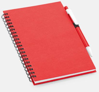 Röd Eko-block med penna - med reklamtryck