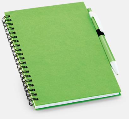 Ljusgrön Eko-block med penna - med reklamtryck