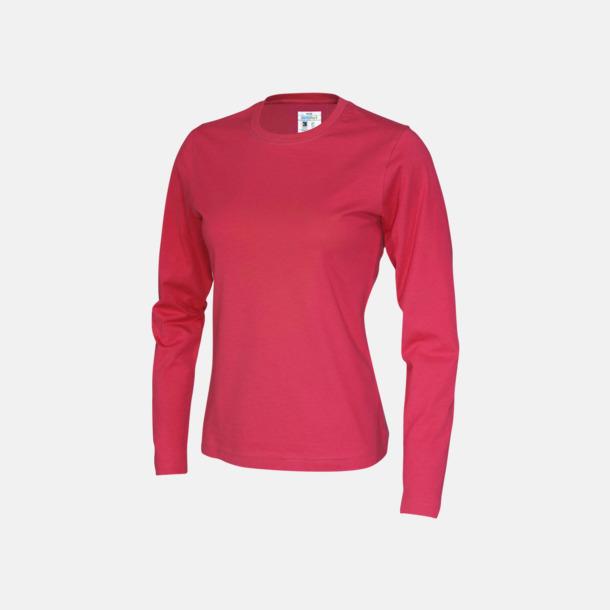 Röd (dam) Långärmade eko t-shirts med reklamtryck