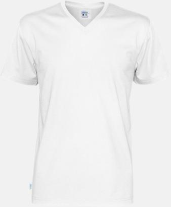 Vit (herr) Svanen- & Fairtrade-certifierade v-ringade t-shirts med reklamtryck