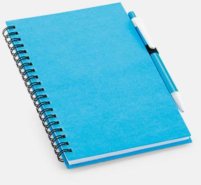 Ljusblå Eko-block med penna - med reklamtryck