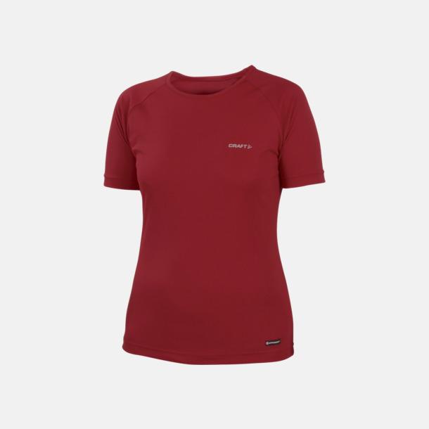 Röd (dam) Funktion t-shirts från Craft med reklamtryck