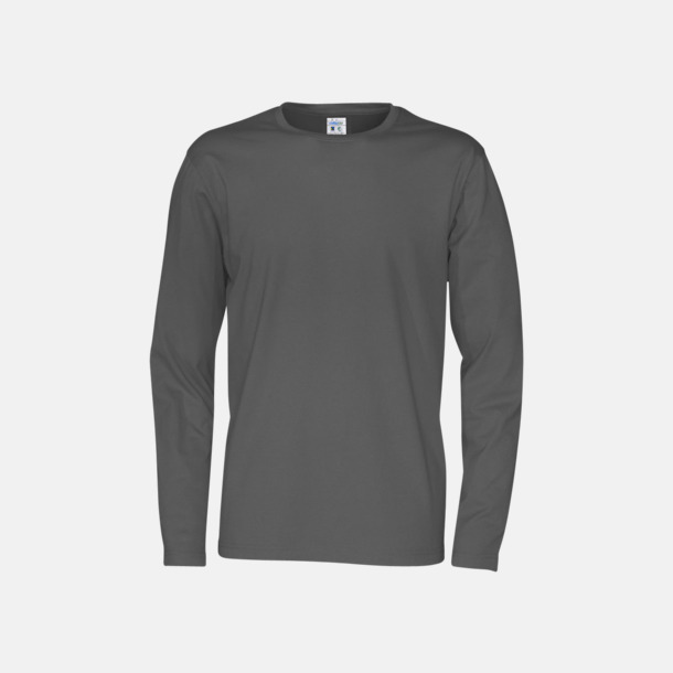 Charcoal (herr) Långärmade eko t-shirts med reklamtryck