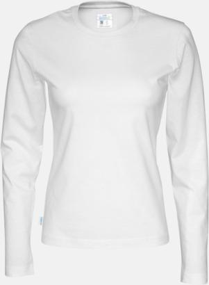 Vit (dam) Långärmade eko t-shirts med reklamtryck