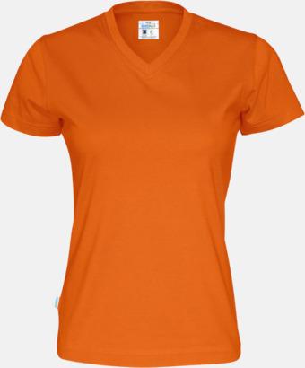 Orange (dam) Svanen- & Fairtrade-certifierade v-ringade t-shirts med reklamtryck