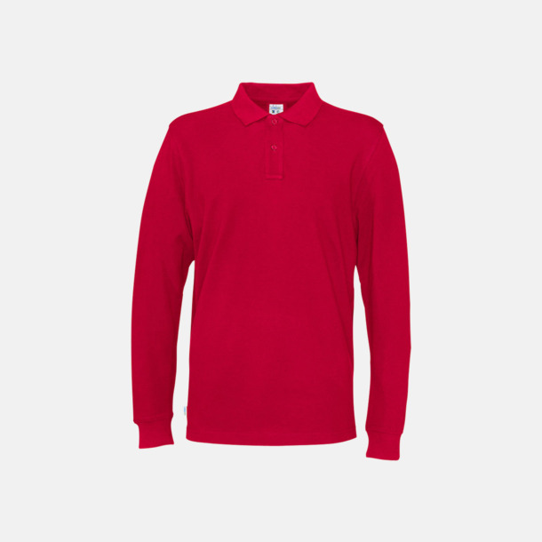 Röd (herr) Longsleeve eko & Fairtrade pikéer med logo