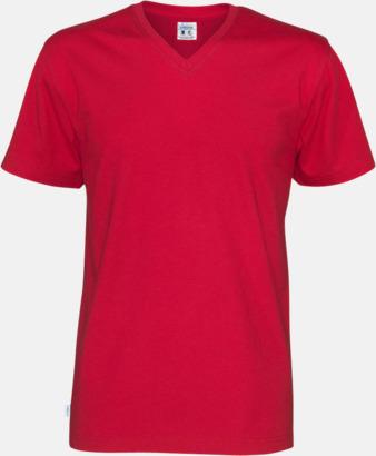 Röd (herr) Svanen- & Fairtrade-certifierade v-ringade t-shirts med reklamtryck