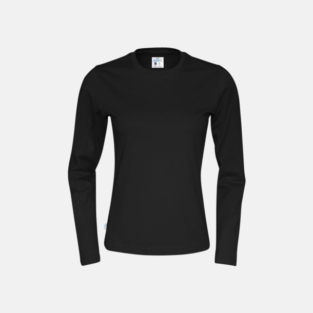 Svart (dam) Långärmade eko t-shirts med reklamtryck