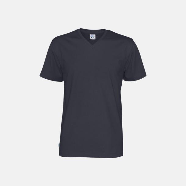 Marinblå (herr) Svanen- & Fairtrade-certifierade v-ringade t-shirts med reklamtryck