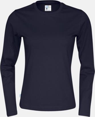 Marinblå (dam) Långärmade eko t-shirts med reklamtryck
