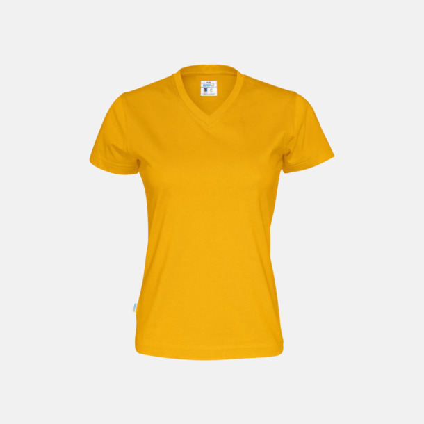 Gul (dam) Svanen- & Fairtrade-certifierade v-ringade t-shirts med reklamtryck