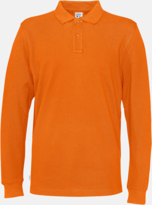 Orange (herr) Longsleeve eko & Fairtrade pikéer med logo