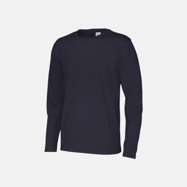 Marinblå (herr) Långärmade eko t-shirts med reklamtryck