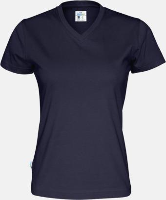 Marinblå (dam) Svanen- & Fairtrade-certifierade v-ringade t-shirts med reklamtryck
