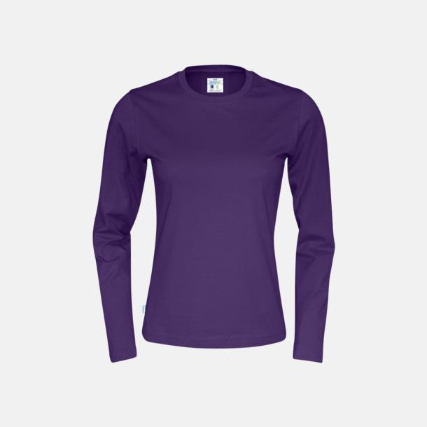 Lila (dam) Långärmade eko t-shirts med reklamtryck