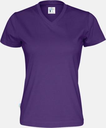 Lila (dam) Svanen- & Fairtrade-certifierade v-ringade t-shirts med reklamtryck