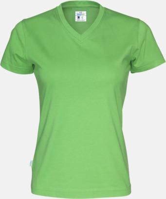 Grön (dam) Svanen- & Fairtrade-certifierade v-ringade t-shirts med reklamtryck
