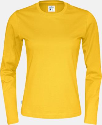Gul (dam) Långärmade eko t-shirts med reklamtryck