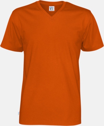 Orange (herr) Svanen- & Fairtrade-certifierade v-ringade t-shirts med reklamtryck