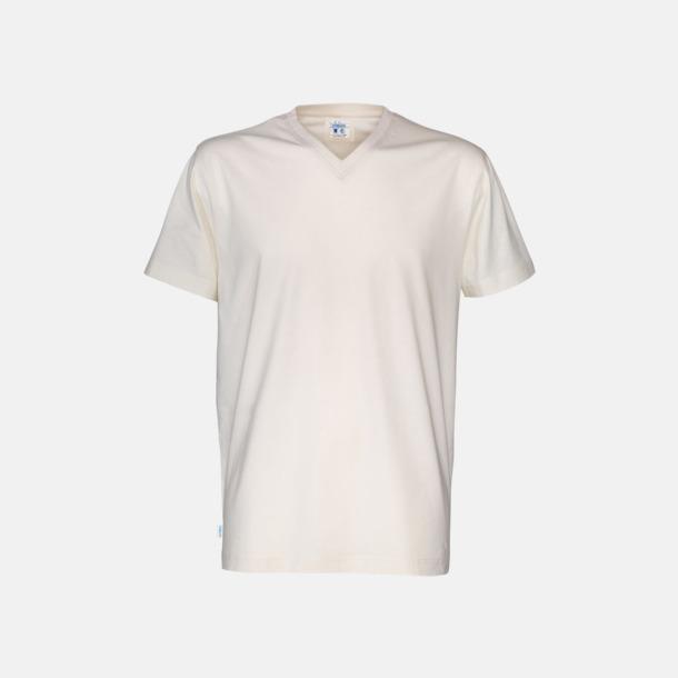 Offwhite (herr) Svanen- & Fairtrade-certifierade v-ringade t-shirts med reklamtryck