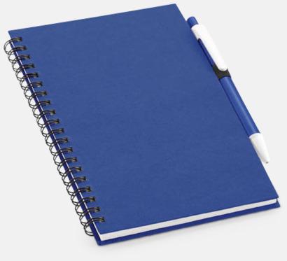 Mörkblå Eko-block med penna - med reklamtryck