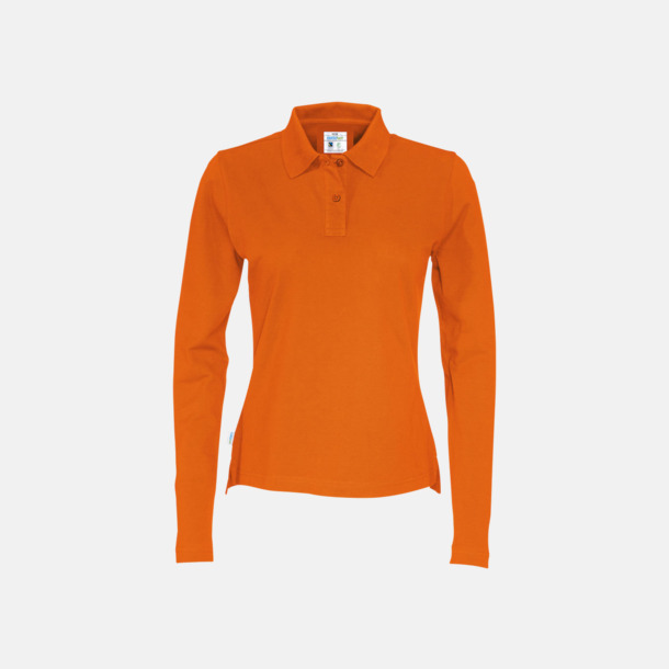 Orange (dam) Longsleeve eko & Fairtrade pikéer med logo