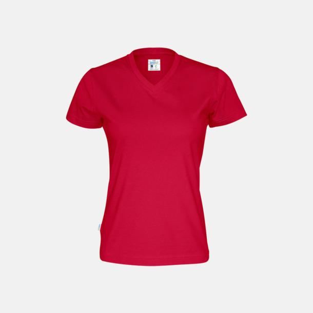 Röd (dam) Svanen- & Fairtrade-certifierade v-ringade t-shirts med reklamtryck
