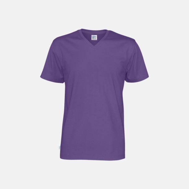 Lila (herr) Svanen- & Fairtrade-certifierade v-ringade t-shirts med reklamtryck