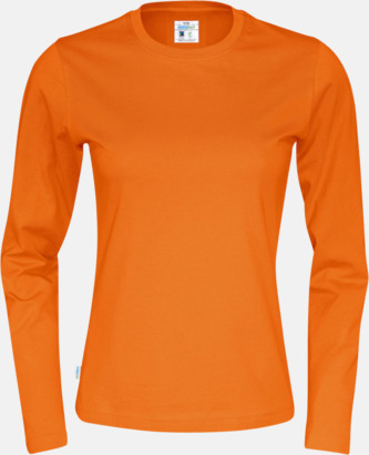Orange (dam) Långärmade eko t-shirts med reklamtryck
