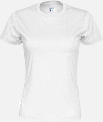 Vit (dam) Multicertifierade t-shirts med reklamtryck