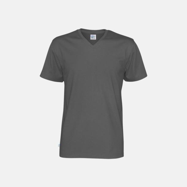 Charcoal (herr) Svanen- & Fairtrade-certifierade v-ringade t-shirts med reklamtryck