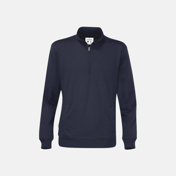 Marinblå Eko & Fairtrade tjocktröjor med reklamtryck