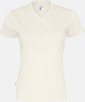 Offwhite (dam) Svanen- & Fairtrade-certifierade v-ringade t-shirts med reklamtryck