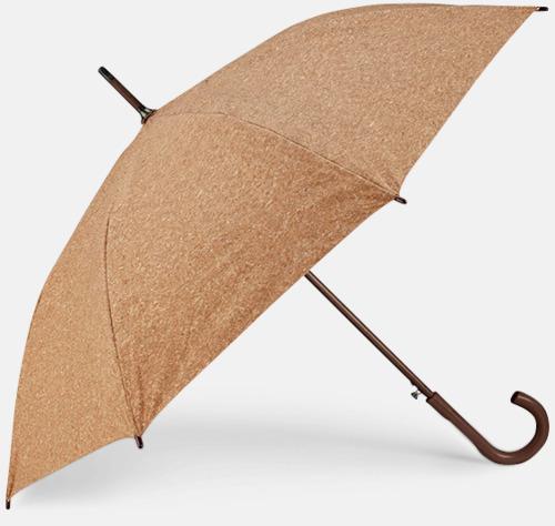 Natur Eko-paraplyer med korkpaneler med reklamtryck