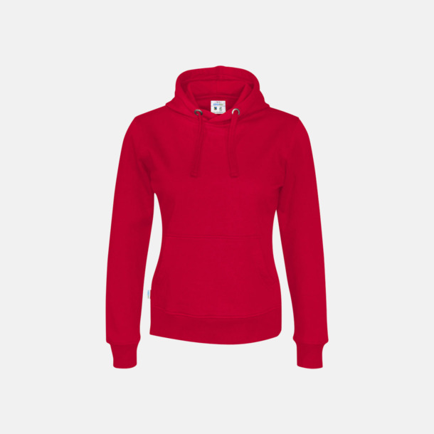 Röd (dam) Eko & Fairtrade huvtröjor med reklamtryck