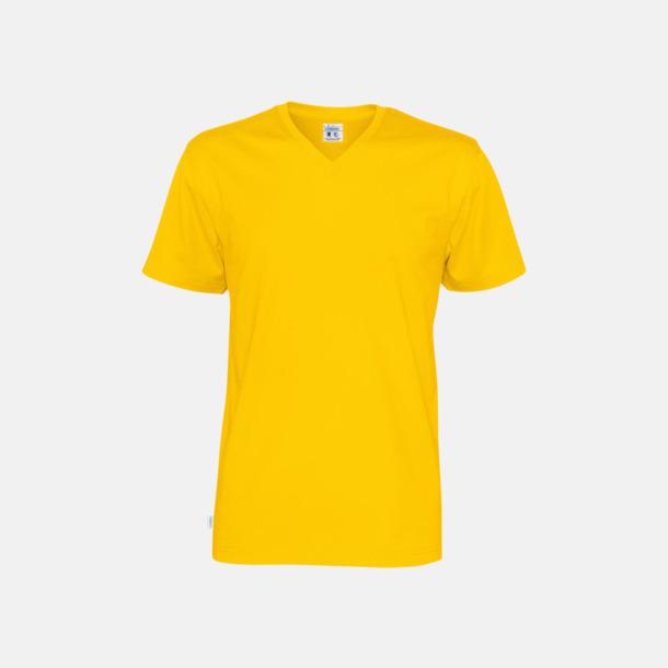 Gul (herr) Svanen- & Fairtrade-certifierade v-ringade t-shirts med reklamtryck