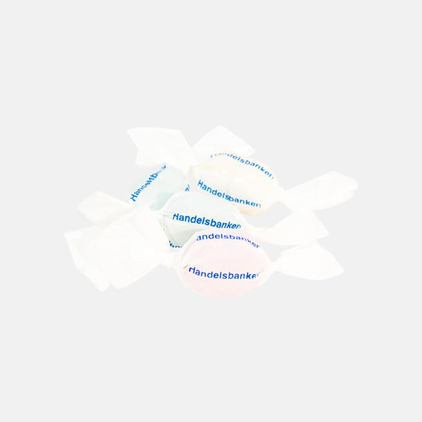 Vit (blå tryckfärg) Expresskarameller med reklamtryck