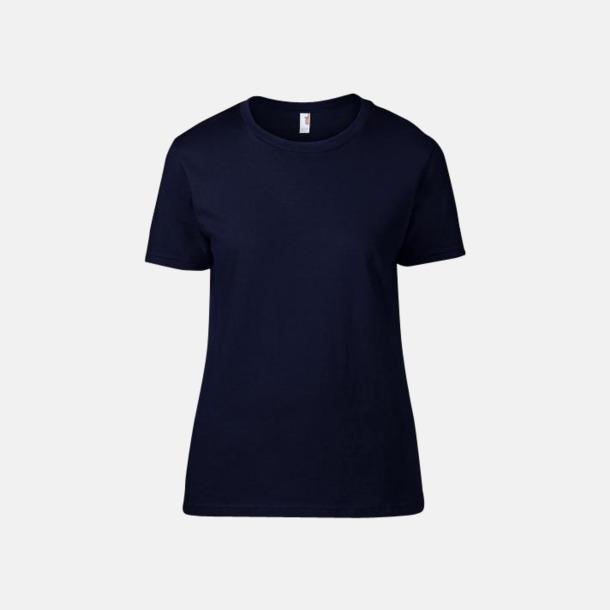 Marinblå (dam) Snygga bas t-shirts för herr & dam - med reklamtryck
