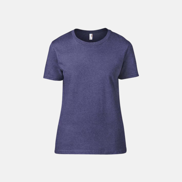 Heather Blue (dam) Snygga bas t-shirts för herr & dam - med reklamtryck