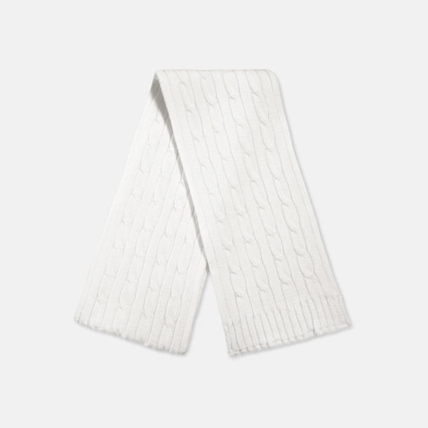 Kabelstickade halsdukar med vävt märke