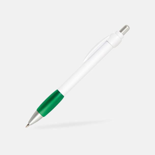 Grön / Vit Billig bläckpenna med vitt gummigrepp
