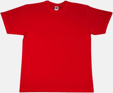 Röd Extra fina t-shirts i herr-, dam- och barnmodell med reklamtryck