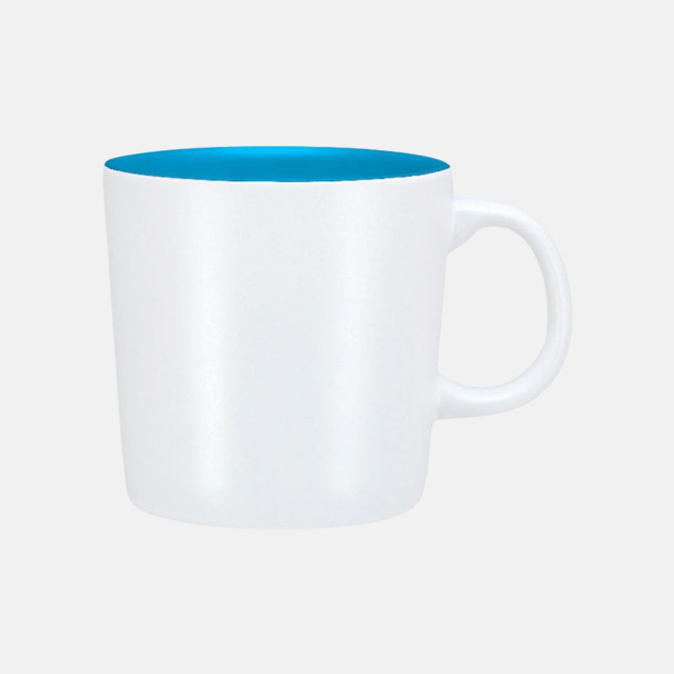 Vit/Blå (matt) Koppar med reklamtryck